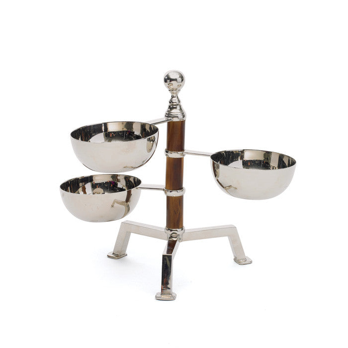 Polished Tiered Bamboo Bowl Stand