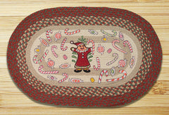 Gingerbread Santa Oval Patch Rug