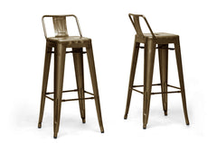 Baxton Studio French Industrial Modern Bar Stool With Back Support(Set of 2)