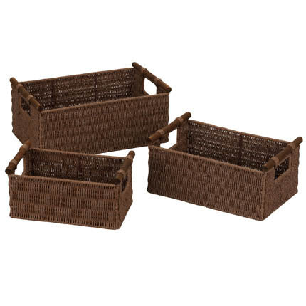 Set of 3 Paper Rope Baskets In Different Colors