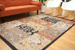 New Traditional Black Patchwork Abstract Area Rugs