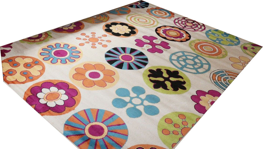 Anzy Kids Playful Contemporary Modern Circles Area Rug In Different Colors and Sizes