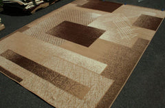New Area Rug Beige Brown Modern Squares