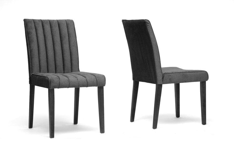 Baxton Studio Strip Microfiber Modern Dining Chair in Set of 2