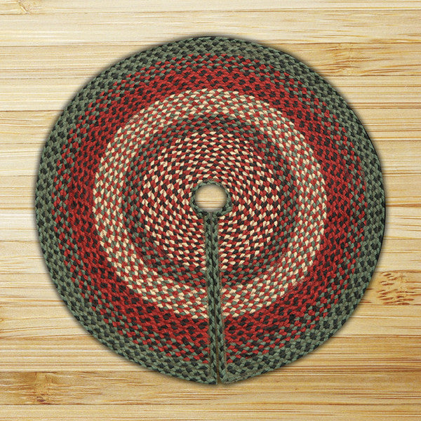 Burgundy/Green/Black Braided Tree Skirt In Different Sizes