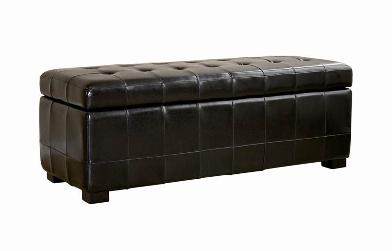 Baxton Studio Full Leather Storage Bench Ottoman with Dimples