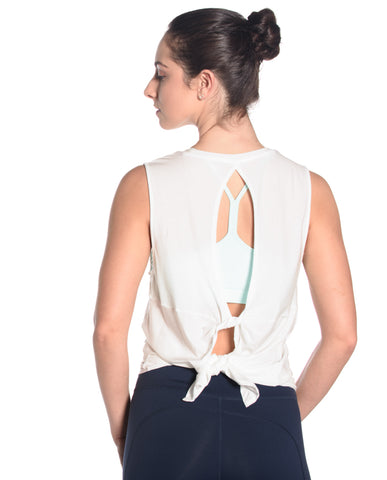 Twist Back Tank - White