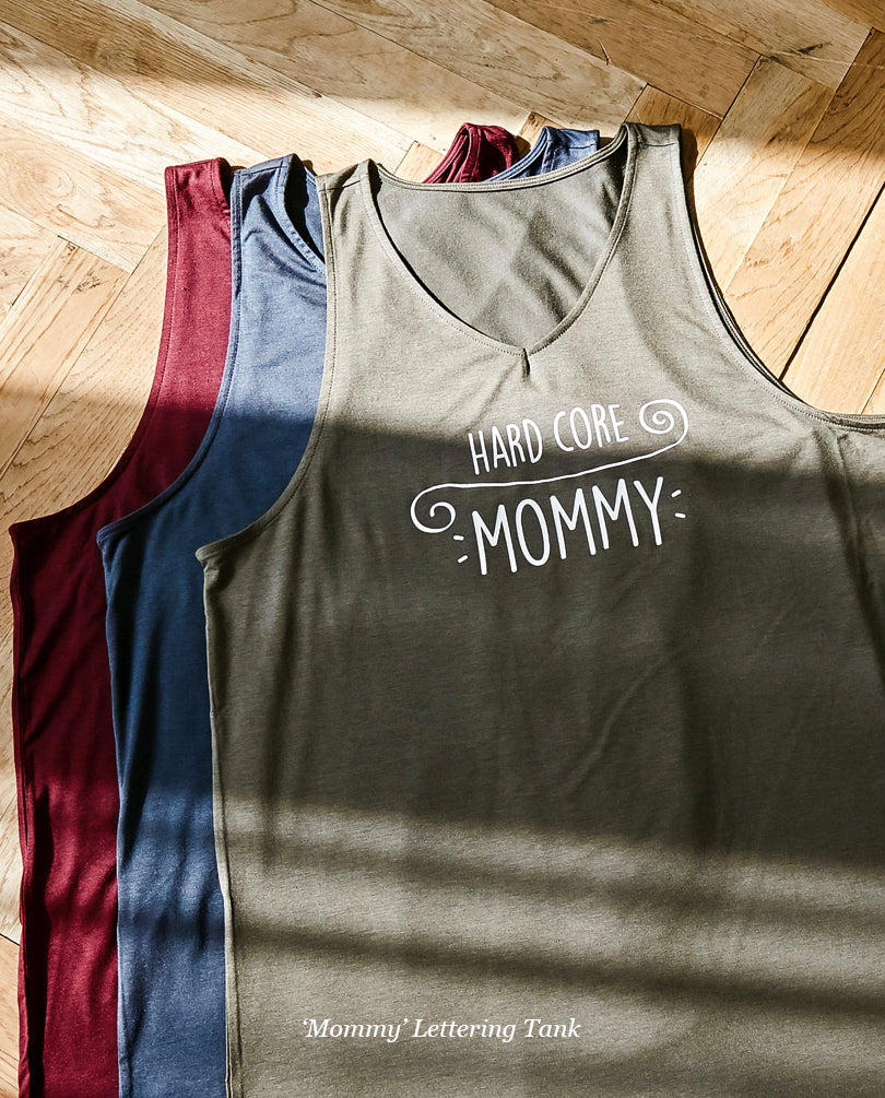 Mommy Lettering Tank - Dark Olive