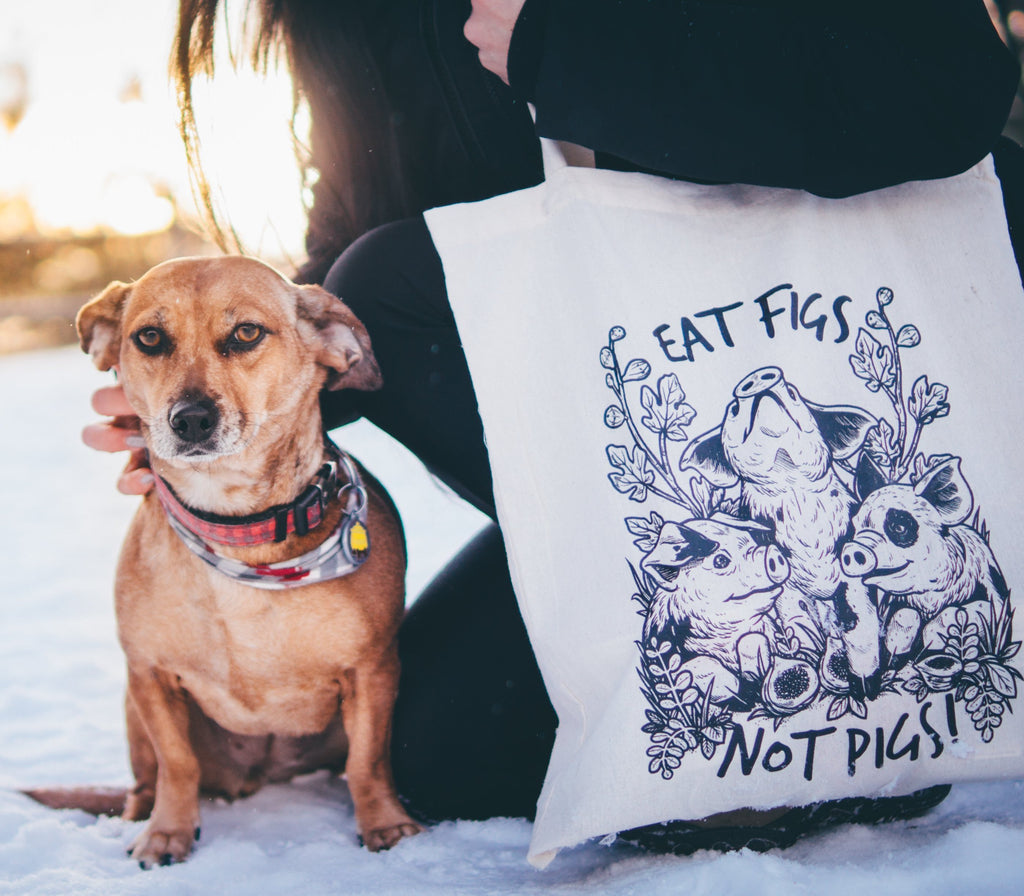 Eat Figs Not Pigs Tote Bag, 100% Organic