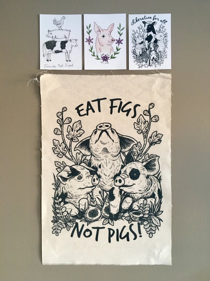Eat Figs Not Pigs Canvas Art Print + 3 Postcards