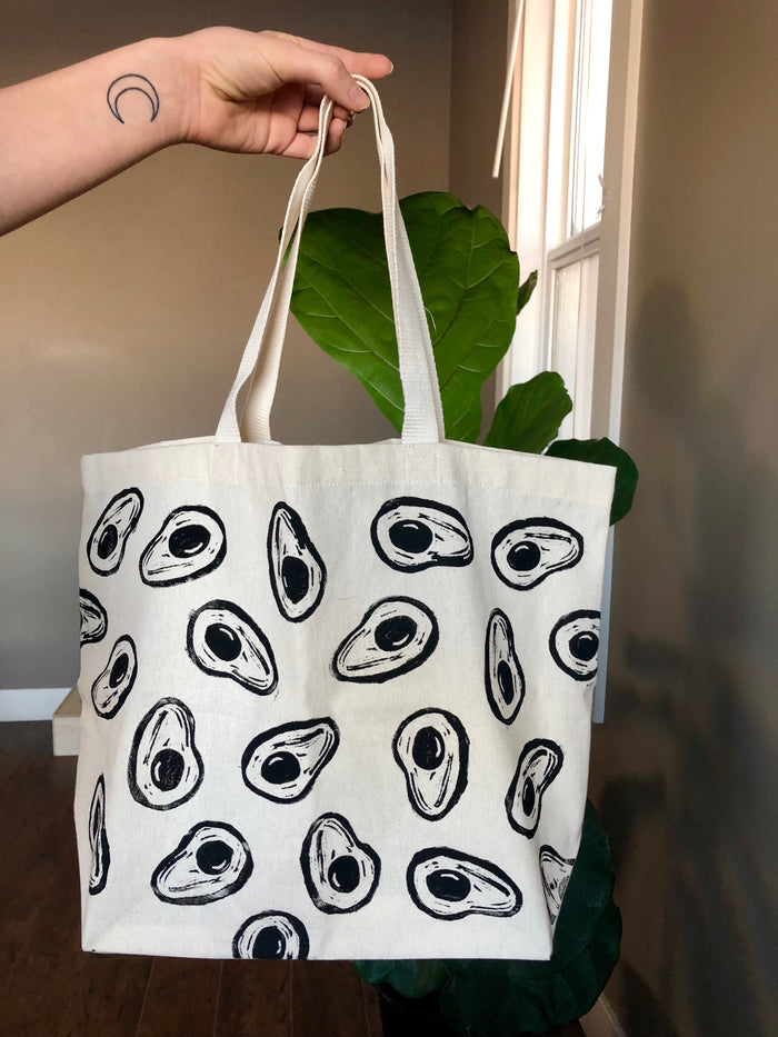 Avocado Hand Printed Tote Bag (ECO-FRIENDLY, VEGAN, ZERO-WASTE, HAND-MADE)
