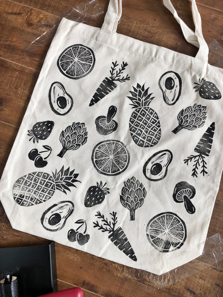 Fruit & Veggie Hand Printed Tote Bag (ECO-FRIENDLY, VEGAN, ZERO-WASTE, HAND-MADE)