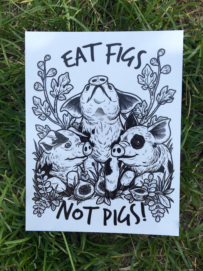 100% Recycled Eat Figs Not Pigs Postcard