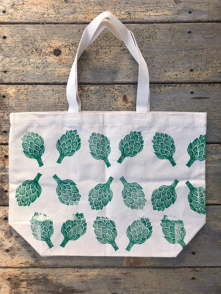 Artichoke Hand Printed Tote Bag (ECO-FRIENDLY, VEGAN, ZERO-WASTE, HAND-MADE)