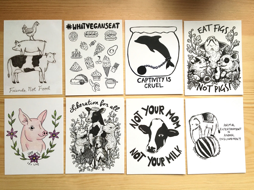 100% Recycled Bundle Pack All 14 Vegan Postcards