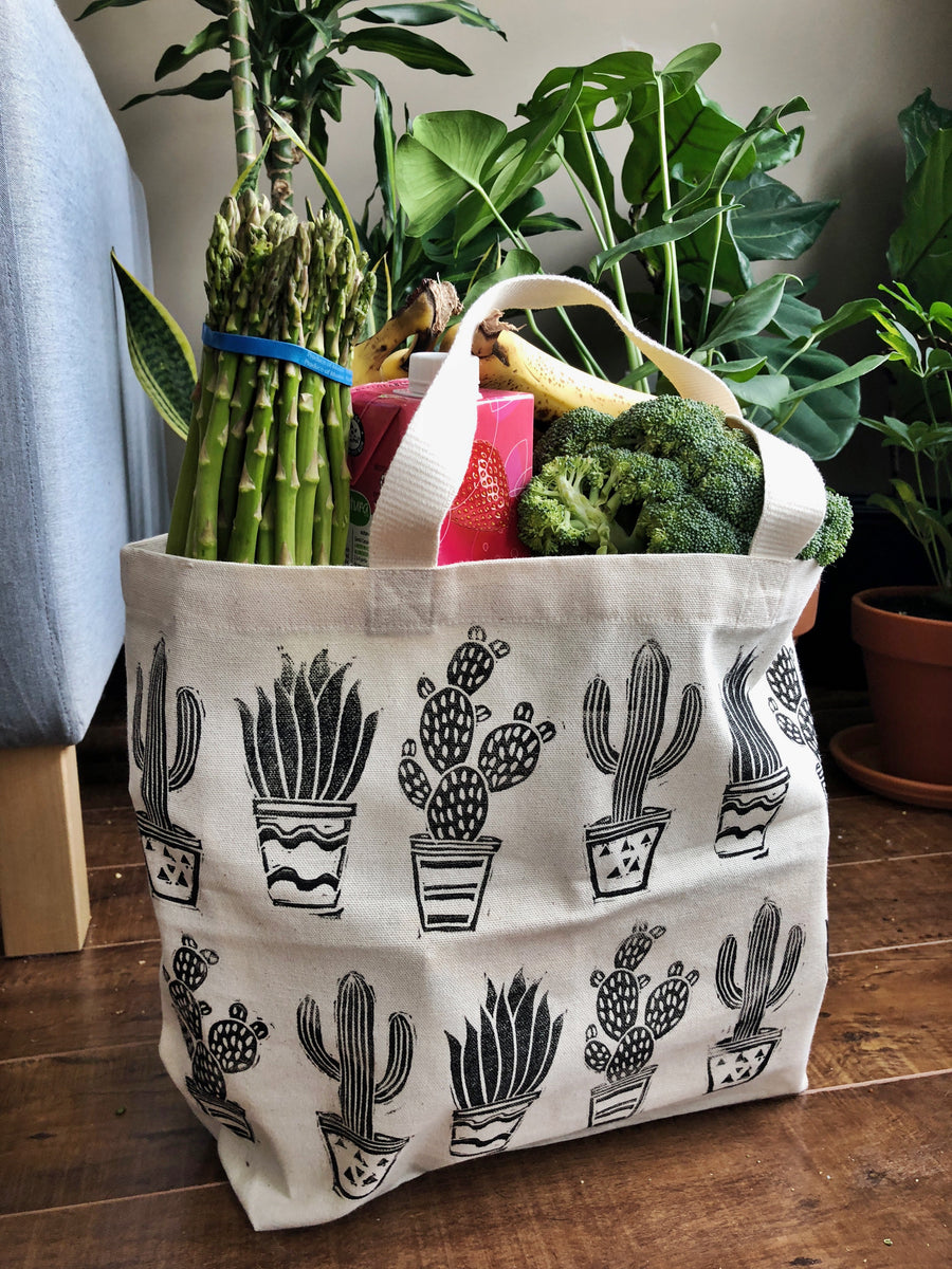 Cactus Hand Printed Tote Bag (ECO-FRIENDLY, VEGAN, ZERO-WASTE, HAND-MADE)