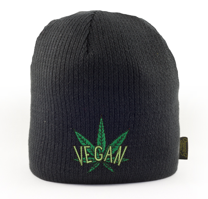 Vegan Cannabis Embroidered 100% Certified Organic Beanie
