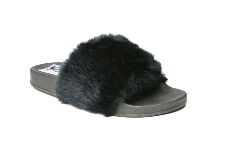 Glide Furry Slides | Black