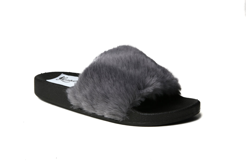 Glide Furry Slides | Grey