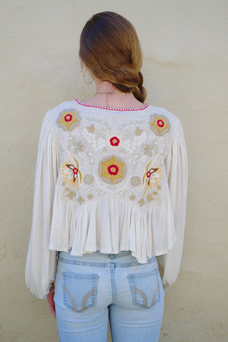 FP Nude Embroidered Long Sleeve Top