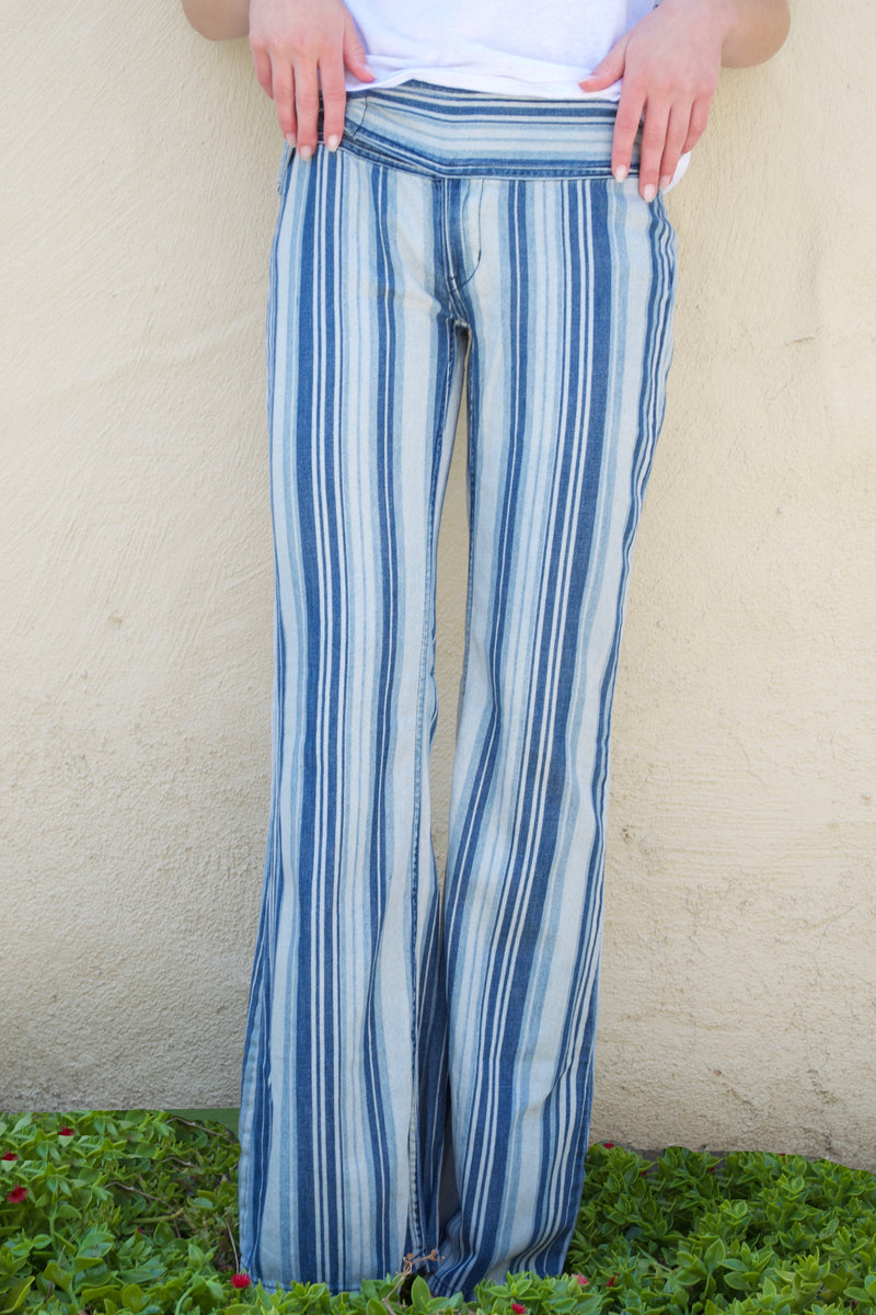 FP Indigo Haze Stripe Bell Bottom Jeans