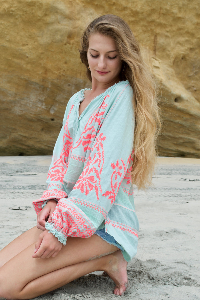 Free People Mint Persuasion Blouse