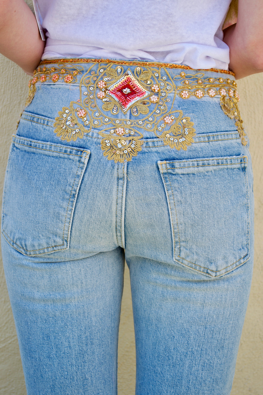 FP Light Wash Pink Bling Jeans
