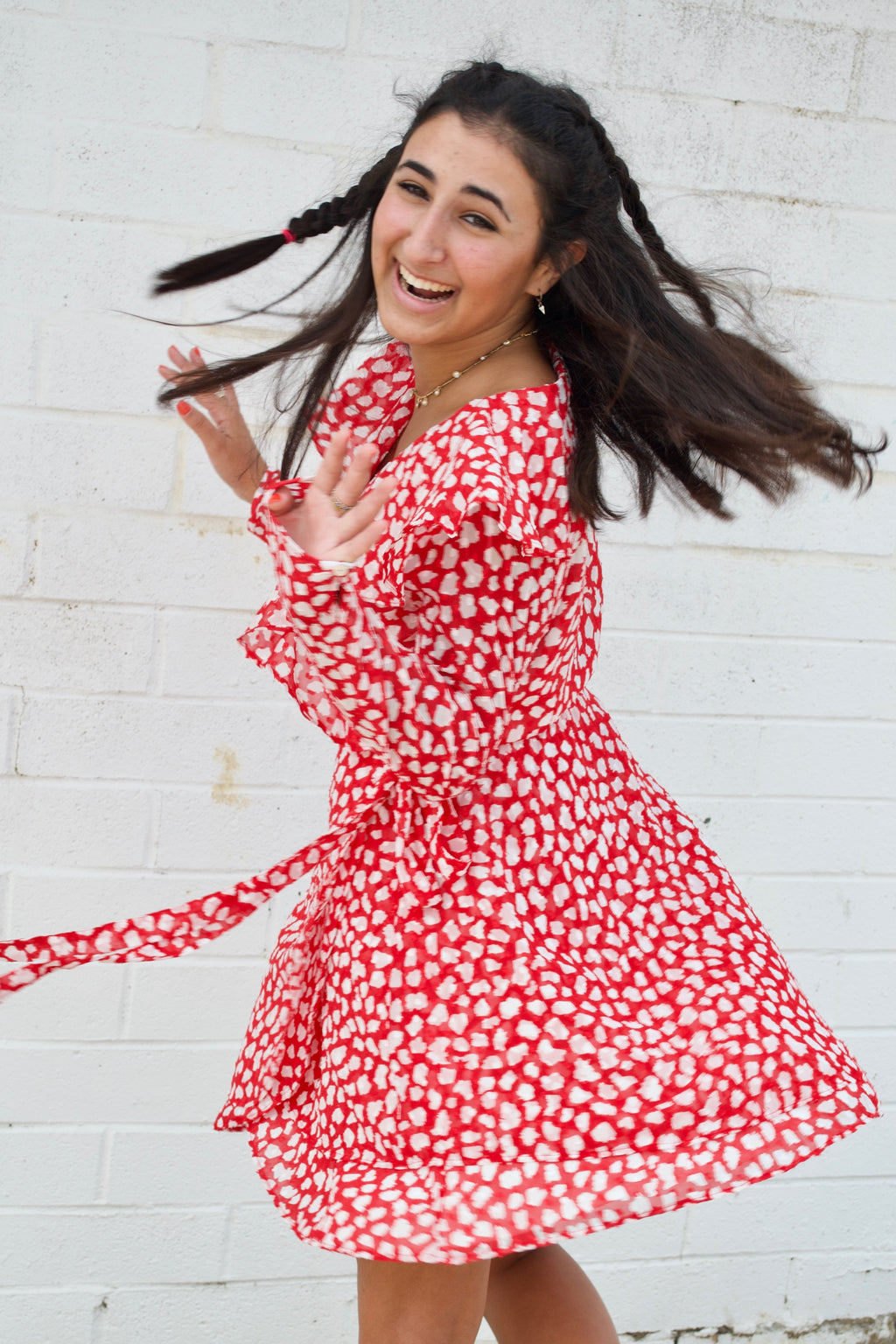 Free People Red Leopard Wrap Dress
