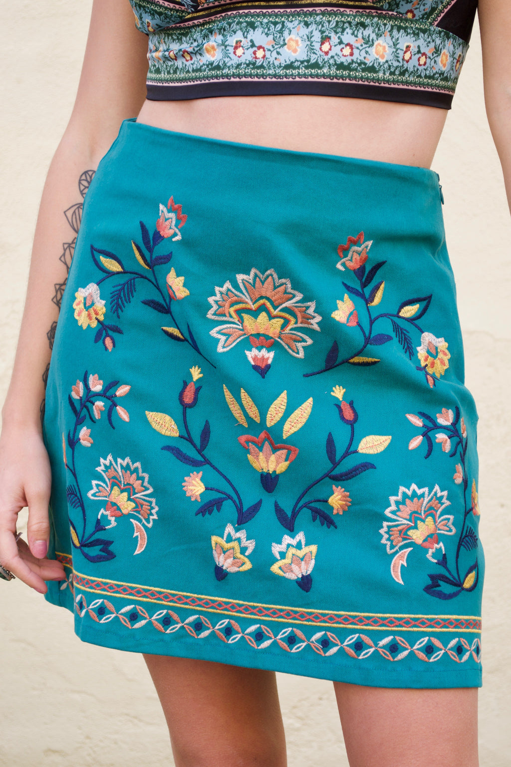 FT Teal Flower Skirt