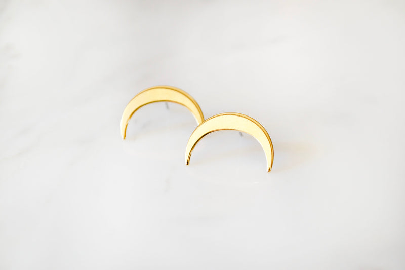 Gold Moon Horn Earrings