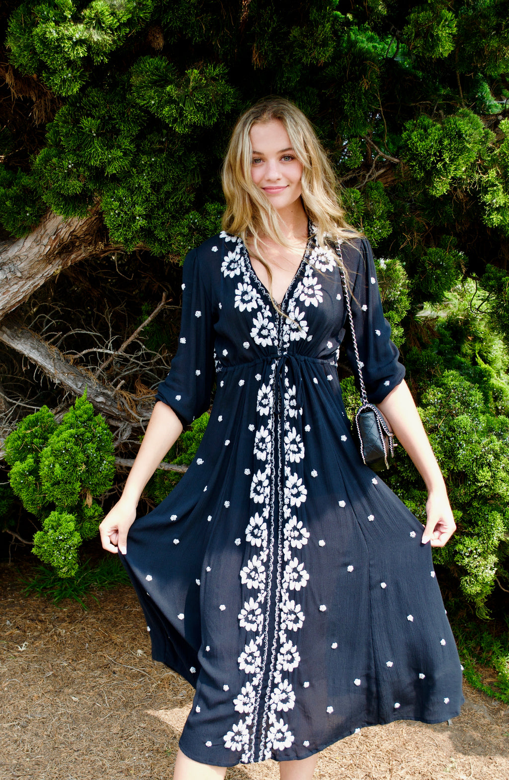 Free People Black Embroidered Mini Fable Dress