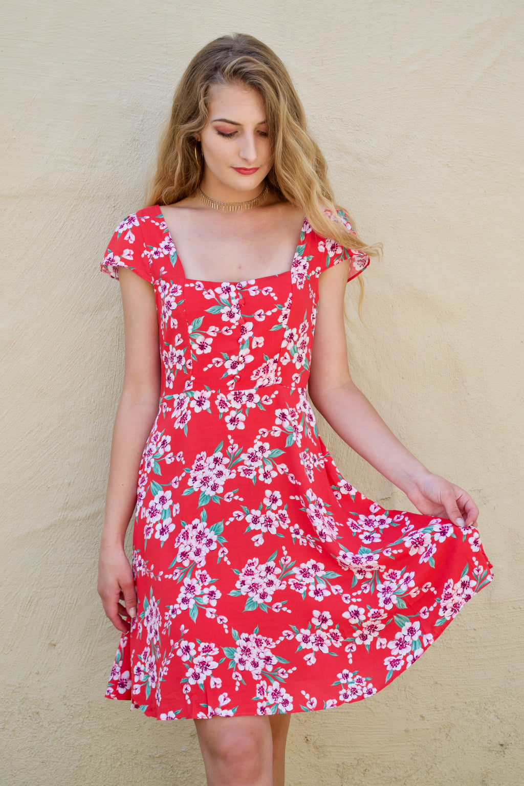 Aakaa Red Flower Dress