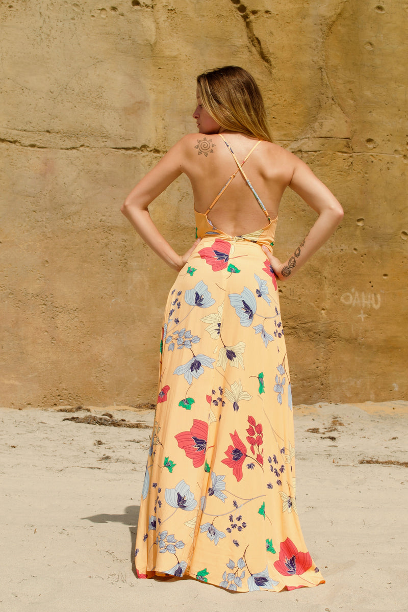Aakaa Yellow Poppy Dress