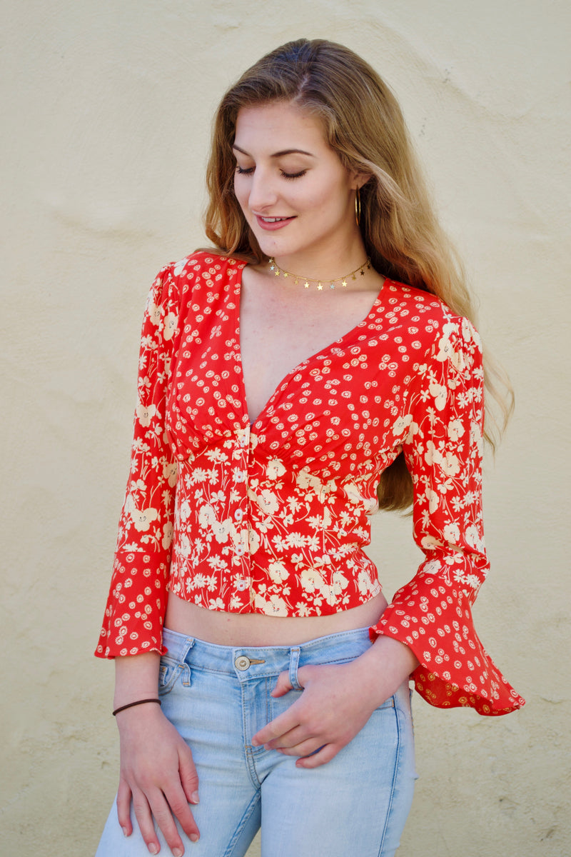 FP Red Floral Long Sleeve