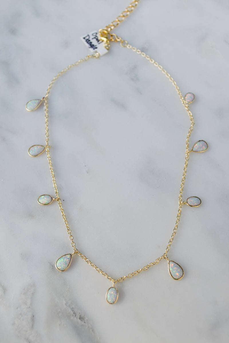 Gold Opal Dangle Choker