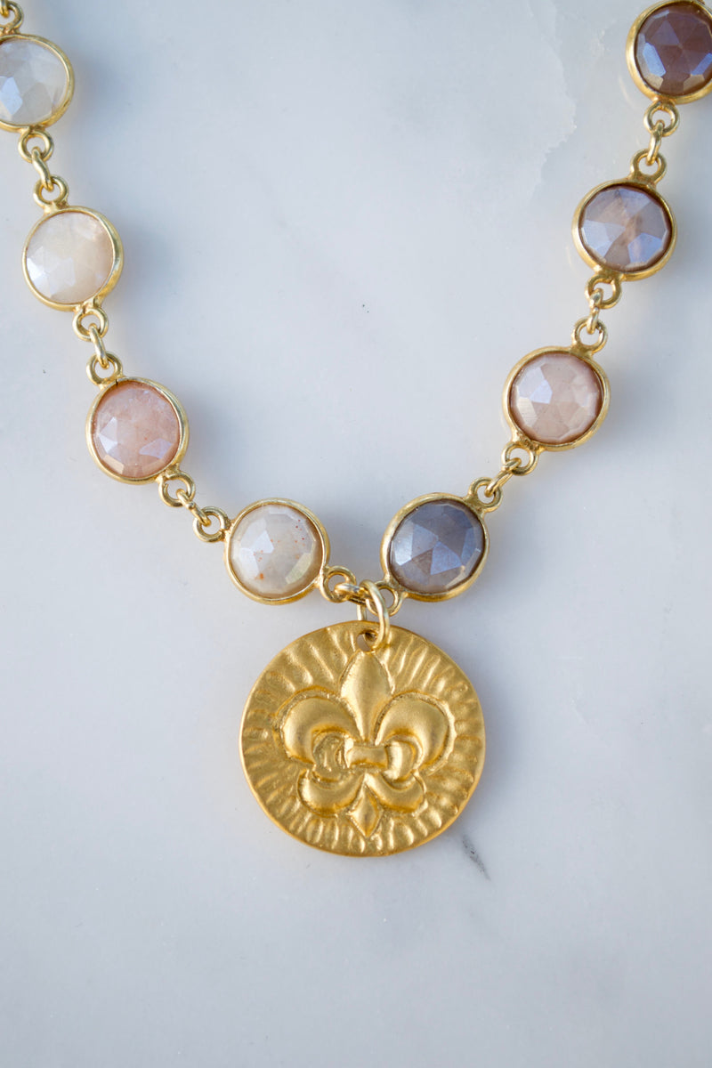 Sunstone Quartz Coin Necklace