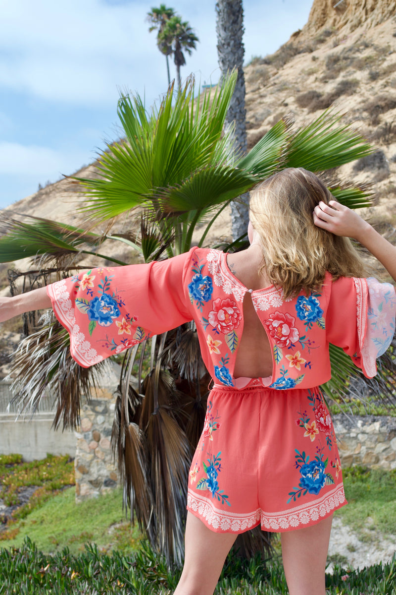 FT Orange Peony Romper