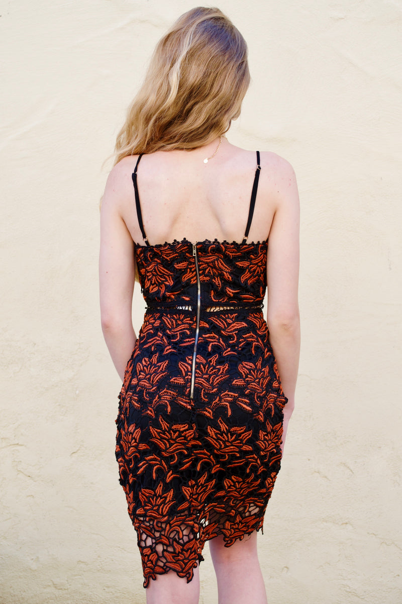 Aakaa Black and Orange Dress