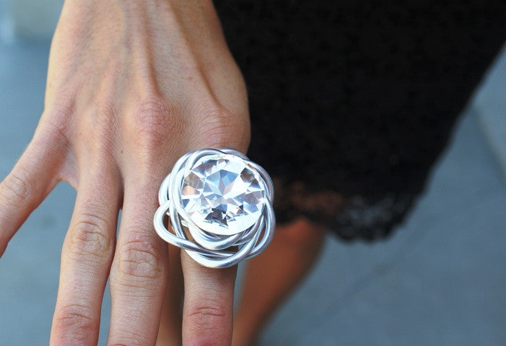 Solitaire Silver Ring with Authentic Certified Swarovski Crystal by Jeff Lieb Total Design Jewelry