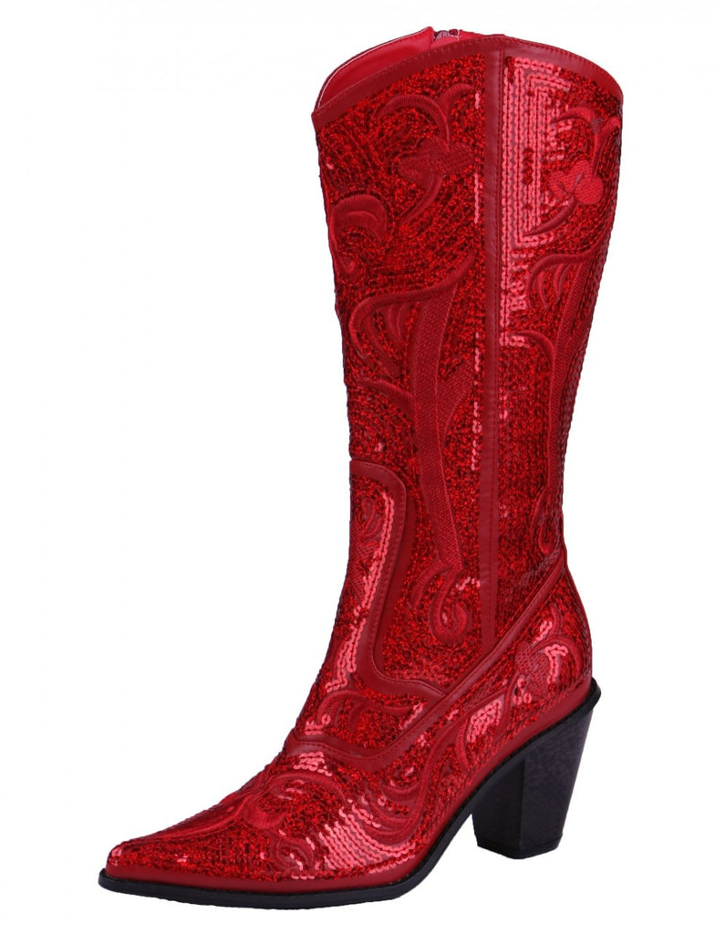 Helen's Heart Red Full Sequins Cowboy Boots - Inside View