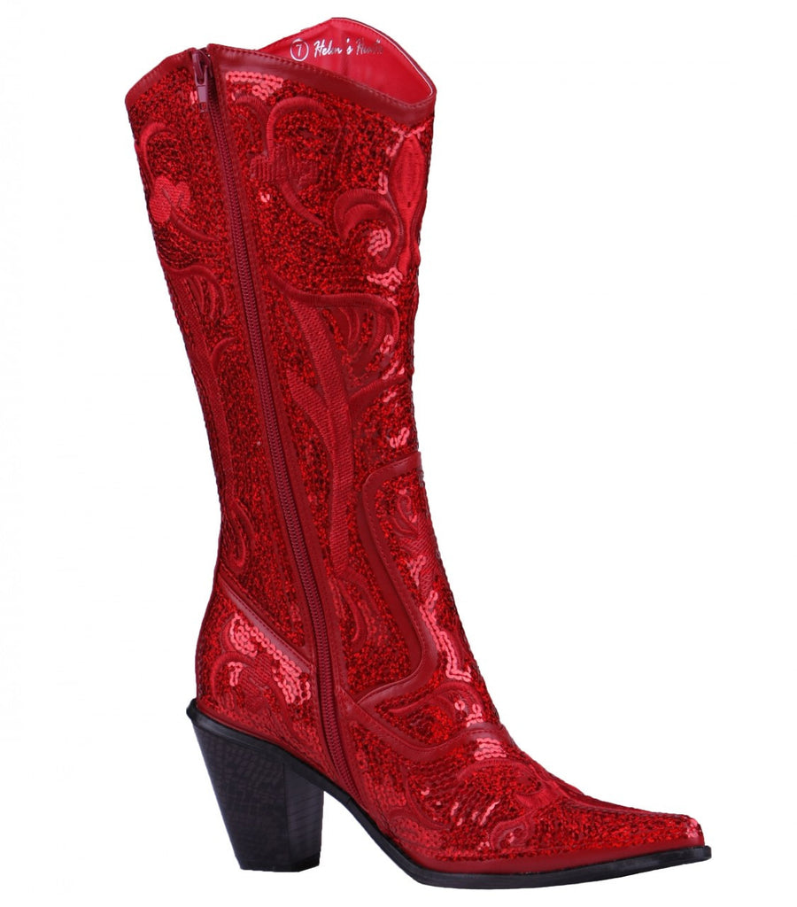 Helen's Heart Red Blingy Sequins Cowboy Boots