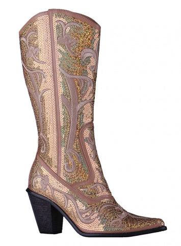 Helen's Heart Short Gold Sequins Cowboy Boots