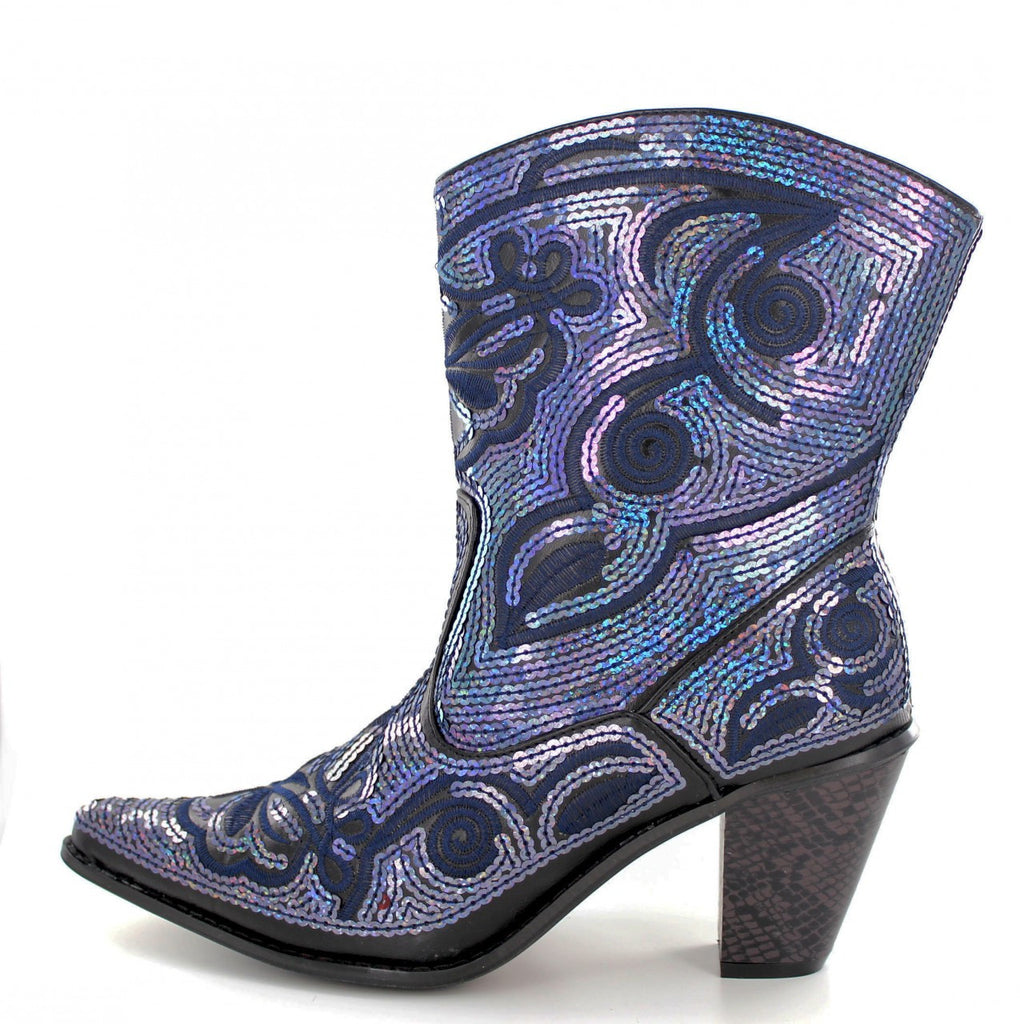 Helen's Heart Short Black / Blue Sequins Cowboy Boots