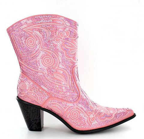 Helen's Heart Short Red Sequins Cowboy Boots