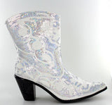 Helen's Heart Short White Sequins Cowboy Boots