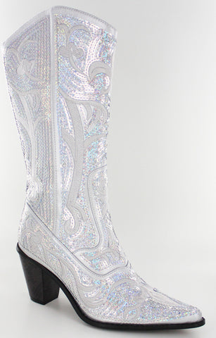 Helen's Heart Short Grey Sequins Cowboy Boots