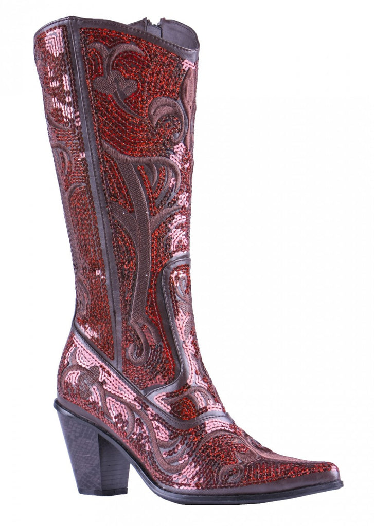 Helen's Heart Bronze Sequins Cowboy Boots - Side View