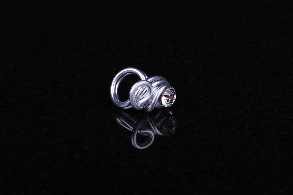 Knot Ring with Single Swarovski Crystal by Jeff Lieb Total Design Jewelry