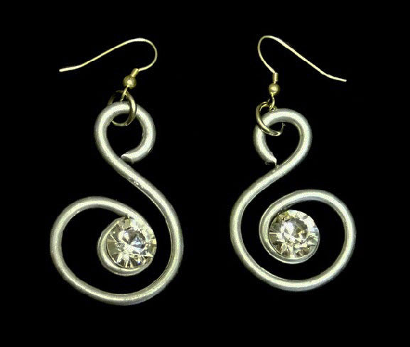"Sophisticated Silver ""S-Shape"" Earrings with Authentic Certified Swarovski Crystals by Jeff Lieb Total Design Jewelry"