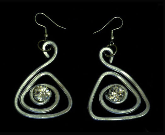 Trendy Triangle Silver Swirl Earrings with Authentic Certified Swarovski Crystals by Jeff Lieb Total Design Jewelry